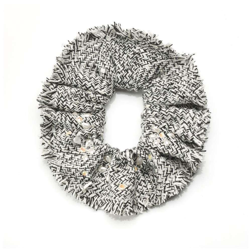 Chouchou tweed, cristaux et perles Swarovski® CAMILA